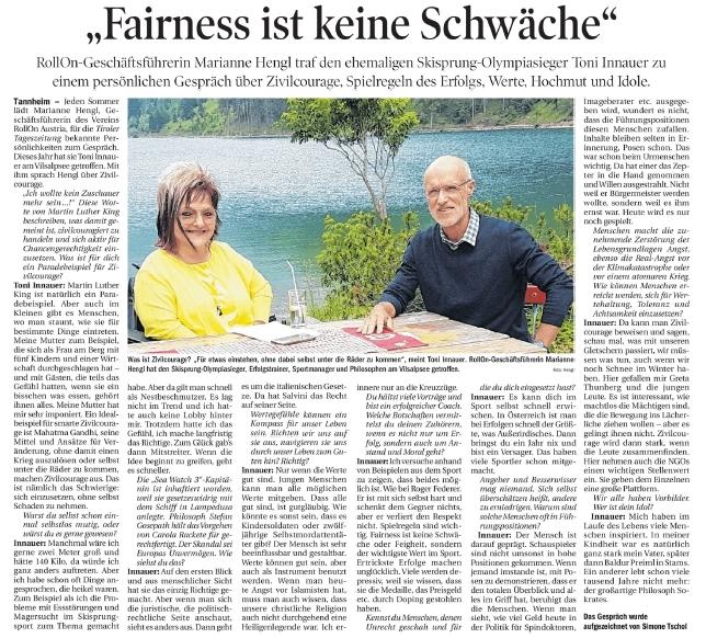 TT Sommergespräch mit Toni Innauer